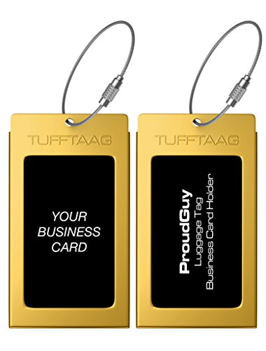 Luggage Tags Business Card Holder TUFFTAAG Pair Travel ID Bag Tag - Mayan Gold