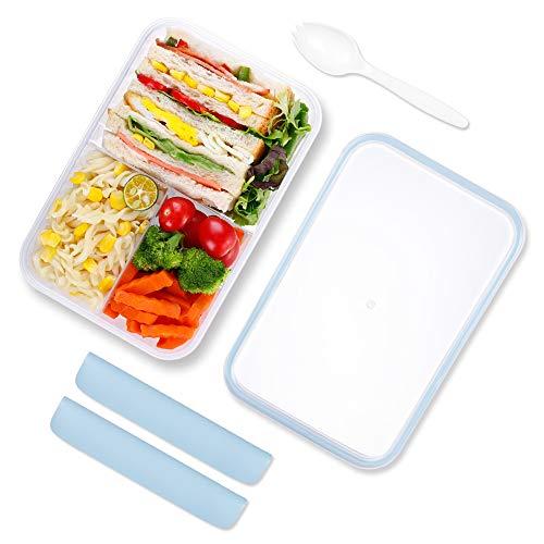 KIGI Bento Box,Lunch Box,Lunch Box,Kids Lunch Box,Adulti Bento Lunch Box con 3 scomparti 1150ml Contenitore per il pranzo con cucchiaio senza BPA