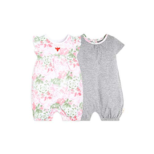 Burt's Bees Baby Baby Girl's Rompers, Set of 2 Bubbles, One Piece Jumpsuits, 100% Organic Cotton, Tossed Succulent, 9 Months