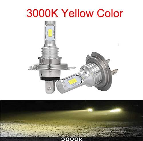 GCS Gcsheng LED CSP Mini H7 Lámparas LED para Automóviles Bombillas De Faros H4 LED H8 H11 Fog Light HB3 9005 HB4 Ice Blue 8000K 3000K Auto 12V (Emitting Color : 3000K, Lumens : 12000Lm)