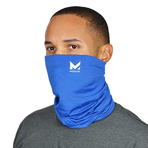 Mission Cooling Neck Gaiter Customize Your Coverage, Face Mask, Cools when Wet- Blue
