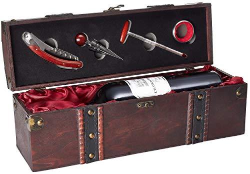 BRUBAKER Geschenkset Weinset mit 1 Flasche Rotwein Jahrgang 2006 Château Carignan Prima - trocken - in Holzkiste mit Sommelierset