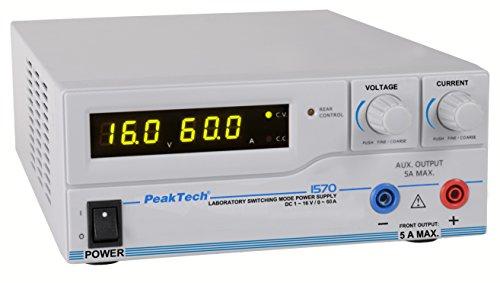 PeakTech 1570 – Labornetzgerät DC 1-16V / 0-60A mit USB, LED-Anzeige, DC-Schaltnetzteile, Stromversorgung, 3 benutzerdefinierte Voreinstellungen für Messwerte, Überlastungsschutz - 200~240 V AC