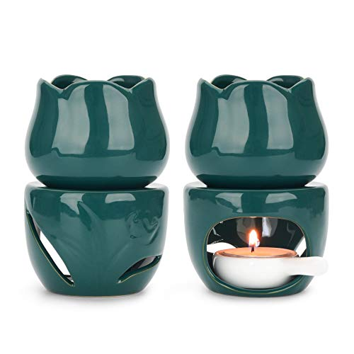 ComSaf Keramik Duftlampe Teelicht mit Kerzenhalter 2er Set, Abnehmbar Wachs Aromalampe Duftöl Kerzenhalter Aromabrenner für Duftöl und Duftwachs (Grün)