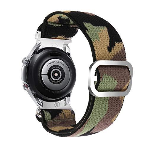 Yooside Correa elástica para Samsung Galaxy Watch3, 45 mm, 22 mm, camuflaje elástico, cierre rápido ajustable para Galaxy Watch 46 mm/Gear S3 (verde camuflaje)