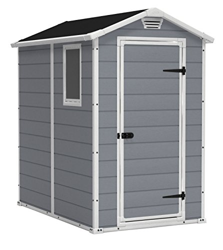 KETER Manor 4x6 Resin Outdoor Shed Kit for Garden, Patio Furniture, and Bike Storage, Grey, 4 by 6, Gray/White