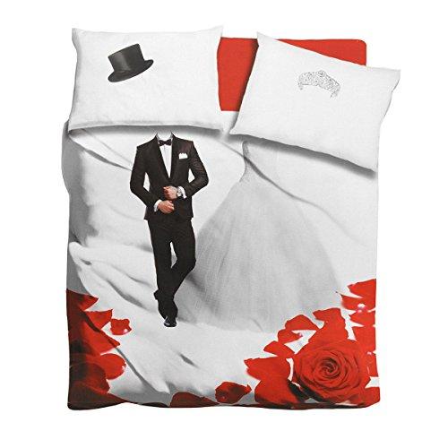 Completo lenzuola Wedding I Love Sleeping digitale 3D Matrimoniale Q924