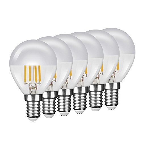 "NuLoXx 6er Pack LED Filament Kopfspiegellampe P45 ""Tropfenform"" SILBER E14 4W/827 2700K warmweiß, 380 LM, AC 220-240, 320° Abstrahlwinkel"