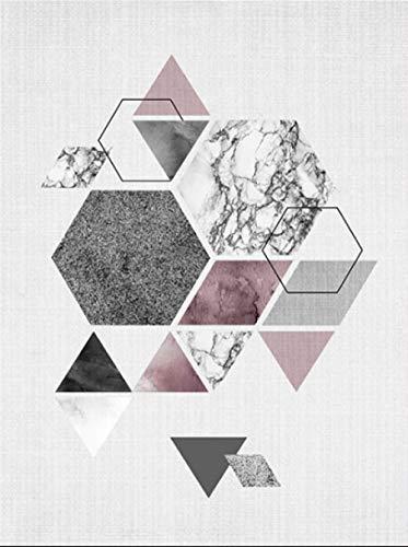YWOHP Figura geométrica nórdica Pintura en Lienzo Personalidad Mosaico Cuadro de Arte de Pared para Sala de Estar Dormitorio decoración del hogar tríptico 40x50 cm Frameless