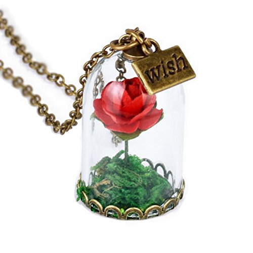 CARINGA - Collana La Bella e la Bestia - Rosa Rossa Incantata - Campana di Vetro