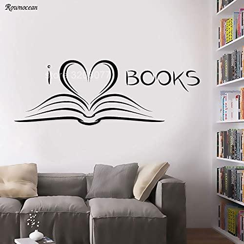 Me encantan los libros Bookworm biblioteca literatura etiqueta de la pared vinilo calcomanía sala de lectura extraíble autoadhesivo papel tapiz de película SK14