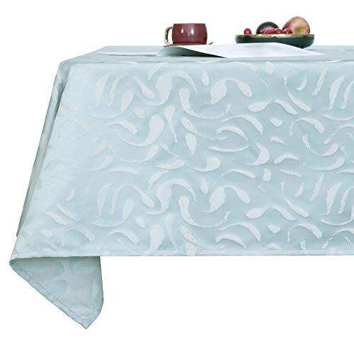 Deconovo Tischdecke Wasserabweisend Tischwäsche Lotuseffekt Tischtücher 130x220 cm Hellhimmelblau