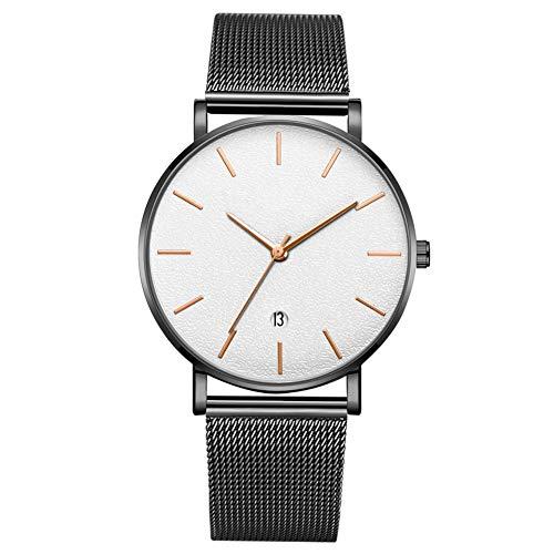 Reloj de pulsera de cuarzo de esfera redonda de moda para hombres reloj de hombre (correa negra caja blanca espejo rosa oro aguja)