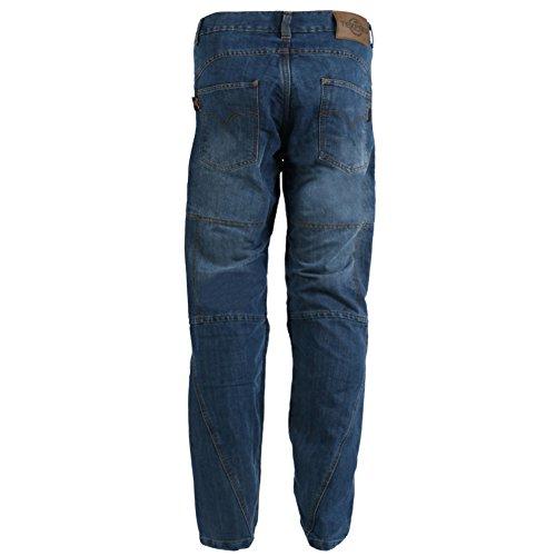 Texpeed - Herren Motorradhose im Cargo-Jeans-Design - Kevlar-verstärkt - Blue Washed - Größe W44'' L33''