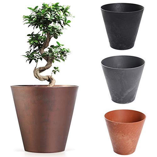 Blumenkübel Blumentopf Pflanzkübel Übertopf Beton-Optik oder Corten-Optik Pflanztopf Beton Design (300 Grau)