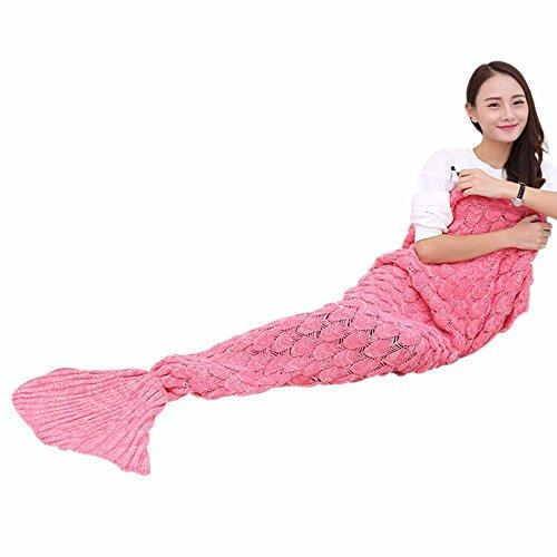 Meerjungfrau Decke 190x90cm für Erwachsene, geburtstagsgeschenk für frauen, Weiche Strick Meerjungfrau Strickmuster Schlafsack di Cloud-Castle