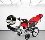 Cmn Silla de ruedas/Scooter para adultos mayores Silla de ruedas eléctrica Silla de ruedas eléctrica motorizada Plegable Sillas de ruedas totalmente delanteras y traseras Amortiguadores Scooter par