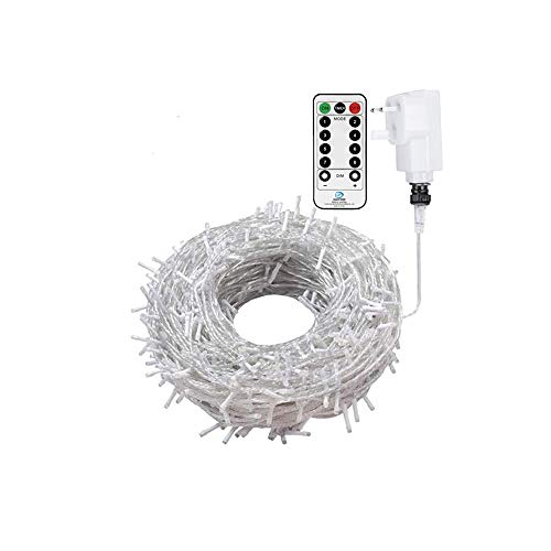 Ollny Fairy Lights 20m 200 LED White Plug in, String Lights Mains Powered with Remote Control & Timer, 8 Modes for Bedroom Indoor Outdoor Garden Christmas Decorations