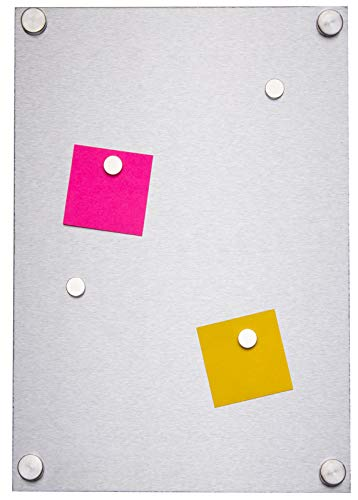 Simply Hardware Pinnwand/Magnettafel – Edelstahl matt magnetisch – A4 (210 x 297 mm) – Befestigungen und Magnete enthalten