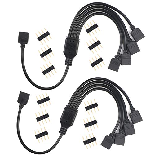 MakerStack Cable Divisor RGB de 4 Pines, Cable de conexión Hembra de 1 a 4 Puertos para Tira de Cambio de Color LED RGB con Conector de 4 Pines para 12 pcs (2 Pares)