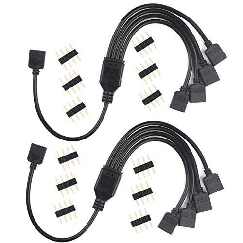 4 Pin RGB Splitter Kabel, 1 bis 4 Ports Buchse Anschlusskabel für LED RGB Farbwechsel Streifen mit 12 stücke 4pin stecker (2 Pairs)
