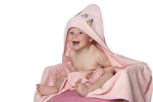 Zollner Toalla bebé con capucha, algodón, 100x100 cm, rosa, Oekotex