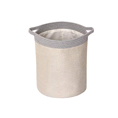 N / A Linen Imitation Laundry Basket, Large Collapsible Washing Laundry Basket Bag for Clothes Washing Bedroom Organizer Toy Collection