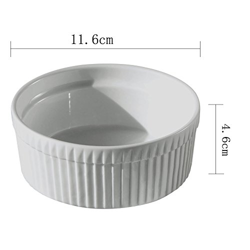 Cinf Porcelain Ramekin White 10 oz Pudding Bowls Dishes Cup for Baking- Set of 4,Soufflé Cups Dishes, Creme Brulee, Custard Cups, Desserts,Oven,Microwave,Freezer and Dishwasher Safe