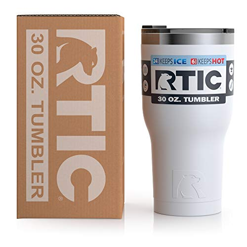 RTIC Insulated Travel Tumbler, Stainless Steel Mug, Hot Or Cold Drinks, with Splash Proof Lid, 30Oz, White