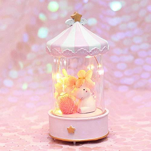 Éclairage Nachtlicht Nacht Geburtstagsgeschenk niedlich klein-rosa Musikglocke Veilleuse Lampe de Nuit Chevet Veilleuse