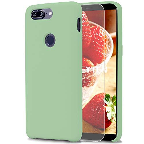 Feyten Funda OnePlus 5T [Cristal Vidrio Templado], Slim Líquido de Silicona Gel Carcasa Anti-Rasguño Protectora Caso para OnePlus 5T (Verde Claro)