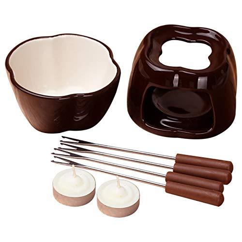 windyday Schokoladen Fondue Topf Set, Keramik Käse Dessert Schmelztiegel Mit 4 x Edelstahlgabeln Und 2 x Teelicht Für Zuhause, Restaurant Und Café