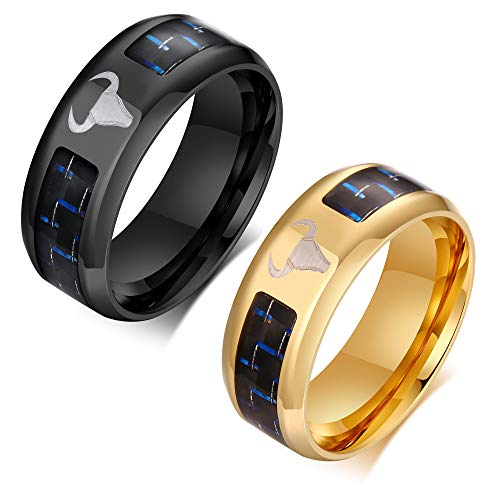 VNOX 2pcs Ring for Men Stainless Steel Carbon Fiber Bullfight Ring Zodiac OX Ring for Men Bull Head Punk Hippop Band Ring.Father's Day/Christmas/Valentine's Day/Birthday Gift,Black Gold Size N 1/2