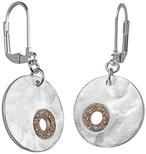 Perlkönig | Juego de pendientes para mujer | Pendientes | Colores Plateados | Moneda | Piedras brillantes | Cierre plegable | Sin níquel.
