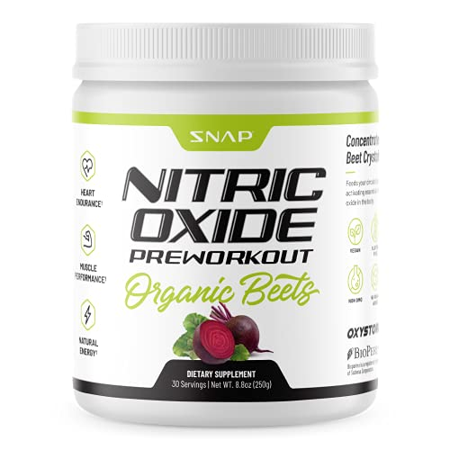 Pre Workout Beet Root Powder - Organic Nitric Oxide Pre Workout Booster, Natural Energy & Blood Flow - Beets Superfood Support Muscle Performance, Heart Health & Endurance, 250g (30 Servings)
