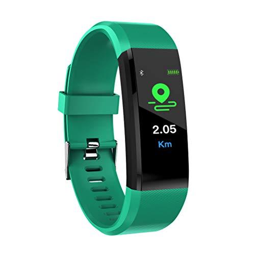 CHNG Fitness Tracker.Orologio per cardiofrequenzimetro 24/7 con Il Monitor del Sonno con contapassi,GPS Integrato,Display SnS per chiamate IP67 Impermeabile all'Acquaper Donne Uomini Bambini,Green