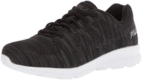 Fila Women's Memory TECHKNIT Running Shoe, Black/Dark Shadow/White, 10 Medium US