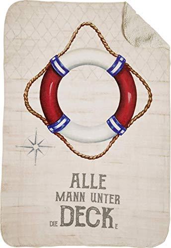 osters muschel-sammler-shop Kuscheldecke ┼ Tagesdecke ┼ Flecedecke Rettungsring Welcome on Bord - superweich & angenehm - waschbar (Decke)