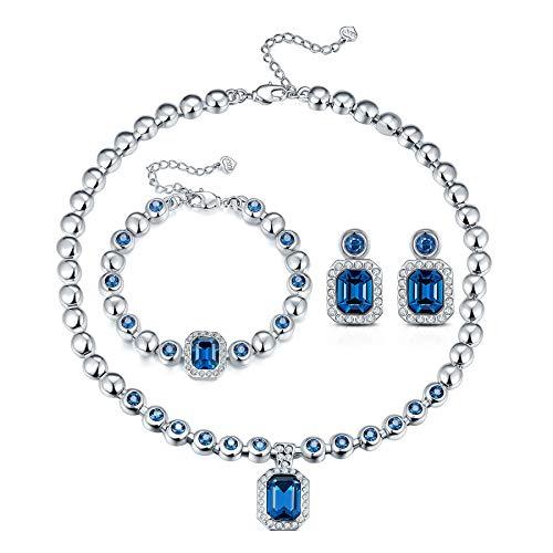 T400 Collar y Pendientes Pulsera para Mujeres Conjunto de Joyas para Bodas y Fiestas nocturnas