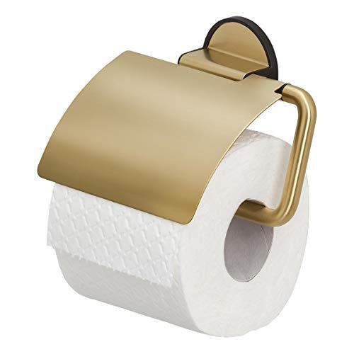 Tiger Tune Toilettenpapierhalter mit Deckel, Montage ohne Bohren dank integrierter Klebefolie, optional Befestigung zum Schrauben, Messing gebürstet/Schwarz, 150 x 123 x 33 mm