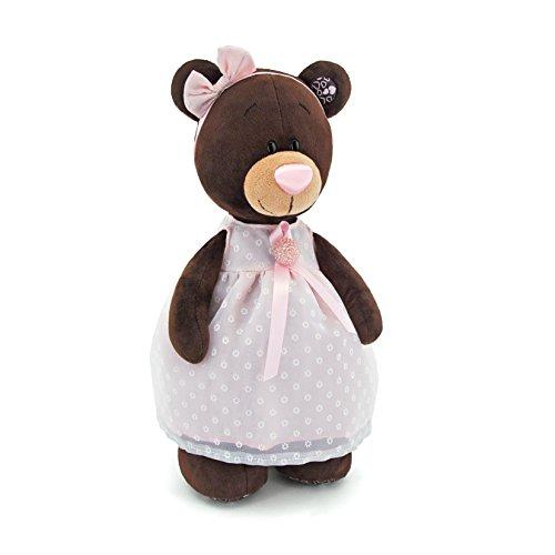 Orange Toys m5046/30 – Milk Debout dans Une Robe avec Broche, Doudou pour Adultes et Enfants dans Emballage Cadeau, 30 cm, Marron/Rose