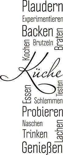 GRAZDesign Wandtattoo Küche Plaudern Backen Genießen -Banner Wand-Worte für Esszimmer Restaurant Wand-Deko (98x40cm//080 Braun)