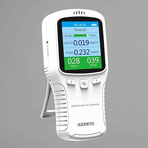 Detector de calidad del aire IGERESS Monitor de medidor de calidad del aire interior multifuncional con pantalla LCD colorida y soporte para el probador de precisión de formaldehído VOC PM2.5 PM10