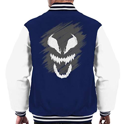 MARVEL Spider-Man Venom Face Herren Varsity Jacke Gr. Large, marineblau / weiß
