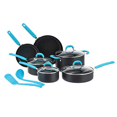Amazon Basics - Juego de 12 utensilios de cocina antiadherentes (ollas, sartenes y otros utensilios), con recubrimiento anodizado duro, turquesa