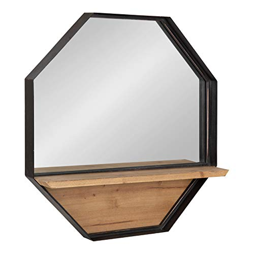 Kate and Laurel Owing Large Rustic Farmhouse Metal Octagon Wall Mirror with Shelf, Black