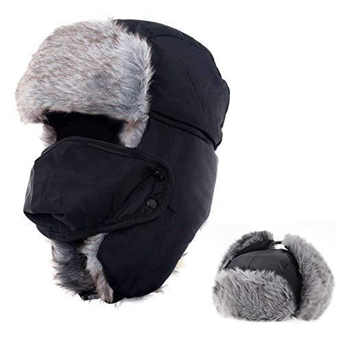 Wintermütze Fliegermütze für Herren Damen, Warm Fellmützemit Ohrenklappen Klassische Trappermütze Russische Mütze (Schwarz)
