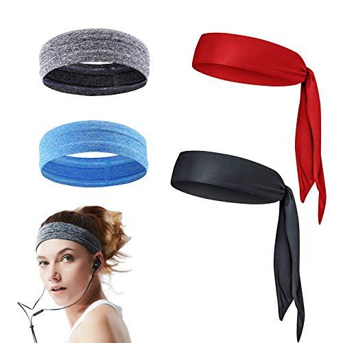KATOOM Diadema Deportivo Fitness 4pcs Sweatband Cabeza Headband Deportes Stretchy Turbante pañuelo elástico Antideslizante Moda para Absorber Sudor en Gimnasia y Aire Libre para Mujer Hombre y niños