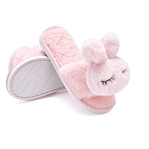 Zapatillas de felpa de conejo de dibujos animados para padres e hijos, zapatillas de algodón de otoño e invierno, zapatillas de algodón cálidas y antideslizantes para interiores-Rosado_EU34-35