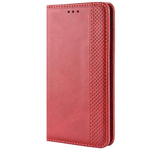 HualuBro Vodafone Smart E11 Caso, retro PU cuero magnético cuerpo completo a prueba de golpes Flip Wallet Case Cover con titular de la tarjeta para Vodafone Smart E11 teléfono caso (rojo)